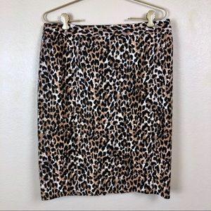 Ann Taylor Loft • Leopard Print Pencil Skirt